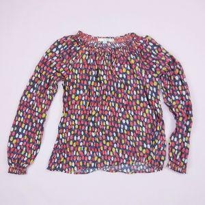 Boden Long Sleeve Dot Peasant Shirt sz 10